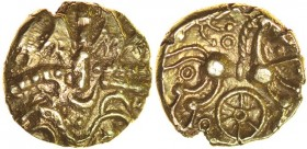 Savernake Wheel. c.30-1 BC. Gold quarter stater. 11mm. 1.22g. Wreath motif./ Belted horse right, with cabled mane, two tails and curvy upper legs, pel...