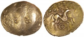 SS Type. Sills class 1, dies 1/2. c.55-45 BC. Gold stater. 18-21mm. 5.59. Two reversed S-shapes on lightly banded flan./ Annulate horse right, beaded ...