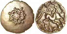 Addedomaros Flower. Sills class 2, dies 18/27. c.45-25 BC. Gold quarter stater. 13mm. 1.33g. Seven petalled flower around central ringed-pellet, pelle...