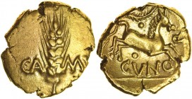 Cunobelinus B-Type. Sills class 6, Plastic, dies 61/107. c.AD 8-41. Gold stater. 17-19mm. 5.37g. Ear of barley, CA to left, M[V] to right./ Horse gall...