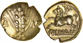 Cunobelinus (Togodumnus?) Left Type. Sills class 8, Classic B, dies 84/144. c.AD 42-43. Gold stater. 16mm. 5.45g. Ear of barley with central stalk and...