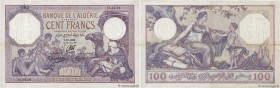 Country : ALGERIA  Face Value : 100 Francs  Date : 07 octobre 1936  Period/Province/Bank : Banque de l'Algérie  Catalogue reference : P.81b  Additiona...