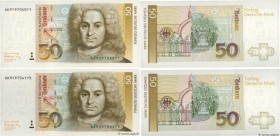 Country : GERMAN FEDERAL REPUBLIC  Face Value : 50 Deutsche Mark Consécutifs  Date : 01 août 1991  Period/Province/Bank : Deutsche Bundesbank  Catalog...