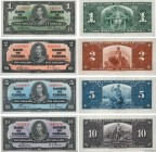 Country : CANADA  Face Value : 1, 2, 5 et 10 Dollars Lot  Date : 02 janvier 1937  Period/Province/Bank : Bank of Canada  Catalogue reference : P.58d, ...