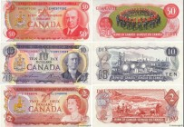 Country : CANADA  Face Value : 2, 10 et 50 Dollars Lot  Date : 1975  Period/Province/Bank : Bank of Canada  Catalogue reference : P.86a, P.088c et P.0...