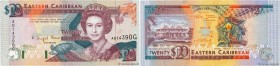 Country : CARIBBEAN  Face Value : 20 Dollars  Date : (1993)  Period/Province/Bank : Eastern Caribbean Central Bank  Department : Grenade  Catalogue re...