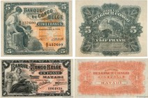 Country : BELGIAN CONGO  Face Value : 1 et 5 Francs Lot  Date : 1914-1951  Period/Province/Bank : Banque du Congo Belge  Catalogue reference : P.3Ba e...