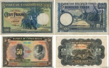 Country : BELGIAN CONGO  Face Value : 50 et 100 Francs Lot  Date : 1946-1950  Period/Province/Bank : Banque du Congo Belge  Catalogue reference : P.16...