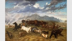 Rudolph Friederich Kurz (Bern 1818 - 1871 Bern). Animals fleeing a fire, October 1858. Oil on canvas. 110x75cm. Signed and dated lower right. From a E...