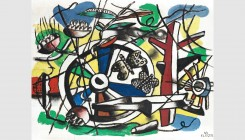 Fernand Léger (Argentan 1881 - 1955 Gif-sur-Yvette). Butterflies in the wheel, 1944. Oil of canvas. 52.9x43.3cm. Signed and dated lower right. Bauquie...