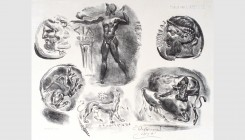 Eugène Delacroix (1798-1863). Studies of six Greek coins, 1825. Lithograph. 25x19cm. Fourth state of four. Signed and dated in stone. Delteil 44. Usua...
