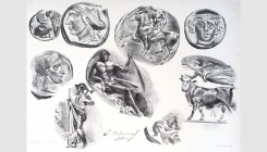 Eugène Delacroix (1798-1863). Studies of nine greek coins, 1825. Lithograph. 30x21cm. Fourth state of five. Signed and dated in stone. Delteil 46. Usu...