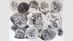 Eugène Delacroix (1798-1863). Studies of twelve greek coins, 1825. Lithograph. 30x24cm. Third state of five. Signed and dated in stone. Delteil 47. Us...