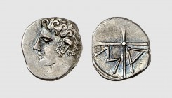 Gallia. Marseille. 250-220 BC. AR Obol, obverse die signed by the master PAR (0.61g, 6h). LT 685; Forrer 262/2. Lightly toned. Choice extremely fine. ...