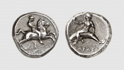 Calabria. Tarentum. 390-385 BC. AR Nomos, reverse die signed by the master H (7.78g, 8h). Fischer-Bossert 372c (this coin); Forrer 157/1. Old cabinet ...