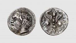 Sicily. Katane. 415-405 BC. AR Litra (1.01g, 1h). Boehringer 6-7; SNG Copenhagen 182. Old cabinet tone. Extremely fine. From a European private collec...