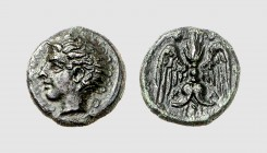 Sicily. Katane. 412-410 BC. Æ Tetras (1.98g, 6h). Laffaille 56 = Strauss 158 (this coin). Lovely dark green patina. Choice extremely fine. From a Euro...