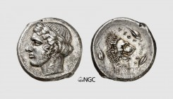 Sicily. Leontinoi. 440-430 BC. AR Tetradrachm (16.42g, 1h). SNG ANS 243; Gemini 2012 (9) lot 3. Lightly toned. Traces of overstriking. Light scratches...