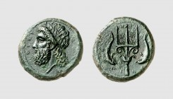 Sicily. Messana. 338-331 BC. Æ Dilitron (14.76g, 9h). Laffaille 59; MAST 42 (this coin). Superb green patina. Perfectly centered and struck. Choice ex...