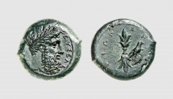 Sicily. Syracuse. Timoleon. 357-354 BC. Æ Hemidrachm (15.62g, 7h). Calciati 72; Laffaille 79. Nice glossy green patina. Extremely fine. From a Europea...