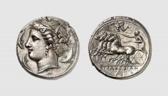 Sicily. Syracuse. Agathokles. 310-305 BC. AR Tetradrachm (16.94g, 3h). SNG ANS 632; Franke-Hirmer 134. Old cabinet tone. Perfectly centered and struck...