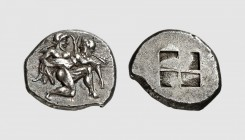 Thrace. Thasos. 500-480 BC. AR Stater (9.56g). Le Rider 2; Franke-Hirmer 435. Old cabinet tone. Perfectly centered and struck on a broad flan. Choice ...