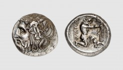 Thrace. Thasos. 390-335 BC. AR Tetradrachm (15.39g, 11h). West 32b; Pixodaros 28a (this coin). Finely toned. Perfectly centered and struck. A coin of ...