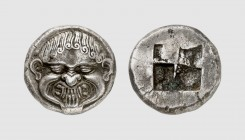Macedon. Neapolis. 500-480 BC. AR Stater (9.76g). Jenkins 101; Franke-Hirmer 133. Old cabinet tone. Perfectly centered and struck. Among the finest kn...