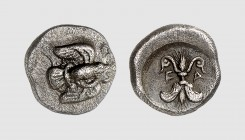 Elis. Olympia. 468 BC. AR Hemidrachm (2.86g, 1h). BCD 2 (this coin); SNG Berry 806. Attractively toned. First emission struck for the Olympic Games. G...