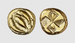 Mysia. Kyzikos. 500-450 BC. EL Hekte (2.68g). Fritze 95; Rosen 471. Lightly toned. Exceptional for issue. Extremely fine. From a European private coll...