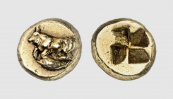Mysia. Kyzikos. 500-450 BC. EL Hemihekte (1.36g). Fritze 89; Rosen 466 (this coin). Lightly toned. Extremely fine. From a European private collection;...