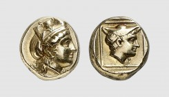 Lesbos. Mytilene. 420-400 BC. EL Hekte (2.48g, 12h). Bodenstedt 75; SNG von Aulock 1725. Lightly toned. Extremely fine. From a European private collec...