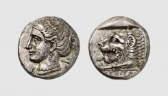 Ionia. Knidos. 395-380 BC. AR Tetradrachm (14.83g, 12h). Nordboe -; Hecatomnus 15a (this coin). Finely toned. Perfectly centered and struck. A lovely ...