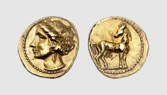 Zeugitana. Carthage. 350-300 BC. AV 1/5 Stater (1.44g, 12h). Jenkins-Lewis 134; Dewing 985. Lightly toned. Exceptional for issue. Choice extremely fin...