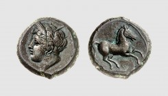 Zeugitania. Carthage. Lilybaion (?). 350-300 BC. Æ (4.95g, 12h). Strauss 633 (this coin); SNG Copenhagen 1023. Lovely black patina. Perfectly centered...
