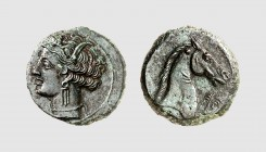 Zeugitania. Carthage. 300-270 BC. Æ (3.86g, 7h). Müller 305; SNG Copenhagen 175. Nice light green patina. Exceptional for issue. Extremely fine. From ...