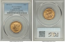 "Victoria gold ""St. George"" Sovereign 1872-S MS62 PCGS, Sydney mint, KM7, S-3858A. A conditionally more difficult issue, only a single example certifyi..."