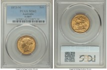 "Victoria gold ""St. George"" Sovereign 1873-M MS62 PCGS, Melbourne mint, KM7, S-3857. Peppered in light contact marks, a single heavier instance of hand..."