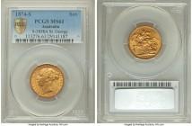 "Victoria gold ""St. George"" Sovereign 1874-S MS61 PCGS, Sydney mint, KM7, S-3858A. A bold offering displaying a near-complete strike.   HID09801242017 ..."