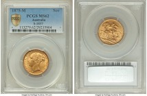 "Victoria gold ""St. George"" Sovereign 1875-M MS62 PCGS, Melbourne mint, KM7, S-3857. Essentially fully struck and highlighted by ample golden frost res..."