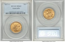"Victoria gold ""St. George"" Sovereign 1875-S MS62 PCGS, Sydney mint, KM7. The finest grade yet awarded by PCGS with none grading so fine at NGC, this n..."