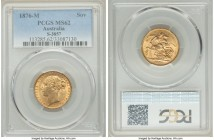 "Victoria gold ""St. George"" Sovereign 1876-M MS62 PCGS, Melbourne mint, KM7, S-3857. AGW 0.2355 oz.   HID09801242017  © 2020 Heritage Auctions 
