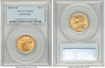 Victoria gold Sovereign 1876-M MS62 PCGS, Melbourne mint, KM7. Graced with a fetching obverse sun-gold, lending a unique appeal.   HID09801242017  © 2...