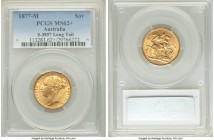 "Victoria gold ""St. George"" Sovereign 1877-M MS62+ PCGS, Melbourne mint, KM7, S-3857. Long Tail variety. A brilliant offering fully deserving of its as..."