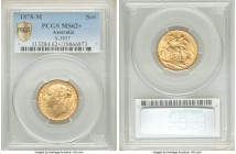 "Victoria gold ""St. George"" Sovereign 1878-M MS62+ PCGS Melbourne mint, KM7, S-3857. Difficult to acquire meaningfully finer, with a distinctive silky ..."