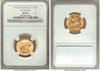 "Victoria gold ""St. George"" Sovereign 1879-M MS63 NGC, Melbourne mint, KM7. Luminescent and choice, with surfaces ignited in sharp mint brilliance.   H..."