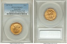 "Victoria gold ""St. George"" Sovereign 1879-M MS62+ PCGS, Melbourne mint, KM7, S-3857D. Medium Tail variety. Opulently lustrous, just a few light and in..."