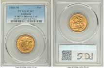 "Victoria gold ""St. George"" Sovereign 1880-M MS62 PCGS, Melbourne mint, KM7, S-3857D. Medium Tail variety. A pleasing brass-gold example showcasing a s..."