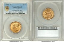 "Victoria gold ""St. George"" Sovereign 1881-M MS62 PCGS, Melbourne mint, KM7, S-3857. AGW 0.2355 oz.   HID09801242017  © 2020 Heritage Auctions 