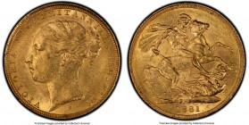 "Victoria gold ""St. George"" Sovereign 1881-S MS61 PCGS, Sydney mint, KM7. Comparatively a rather low mintage date within the series.  HID09801242017  ©..."
